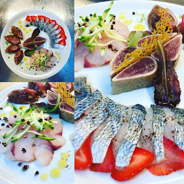 Il crudo di stasera #tataki di #palamita #tartare di #tonno #orata #fragole e #anicestellato #coccio e #zucchine #food #foodporn #foodphotography #foodblogger #foodgasm #ischia #island #ristoranteida #fish #sushi #sashimi